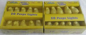 🌟  Lot of 2 Sets Yellow Peeps Lights Indoor Outdoor White Wire New in Box