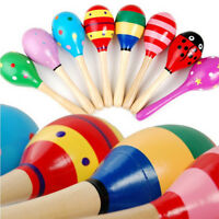 10pcs Kids Baby Toddler Wooden Toy Maracas Rumba Shakers Musical Party Rattles