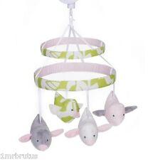 Carter's Sweet Songs Girl's Crib Musical Mobile Pink Green Gray Floral Dot Birds