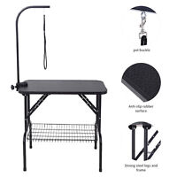 "32"" Dog Cat Pet Grooming Table Portable With Arm & Noose & Mesh Tray Large"