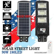 90W Commercial LED Solar Street Light - IP67 Dusk to Dawn PIR Sensor Lamp- New