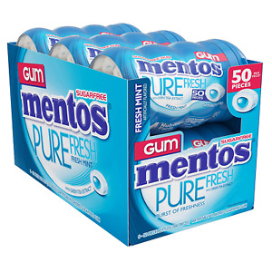 Mentos Pure Fresh Sugar-Free Chewing Gum Fresh Mint with Xylitol 50 Ct. 6 Pack