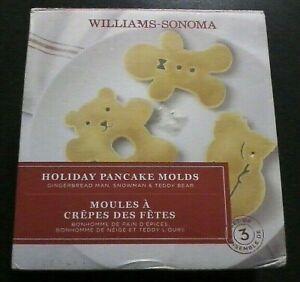 Williams Sonoma Silicone Christmas Holiday Pancake Molds Set of 3 - Snowman Bear