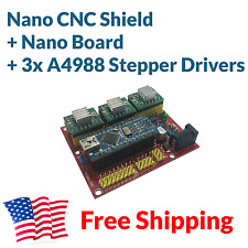 Arduino Nano CNC Shield 3-Axis A4988 Complete Driver Board Package Kit FREE SHIP