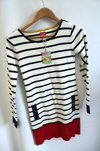 Ladies JOULES Cream Blue Red Striped Jumper Size UK 8 BNWT - P37