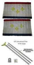 3x5 City of New Orleans Louisiana 2ply Flag Galvanized Pole Kit Eagle Top 3'x5'