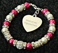 Personalised Engraved Medical Alert Bracelet Epilepsy Epileptic Seizures info
