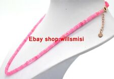 Beautiful 2x4mm Faceted Pink Watermelon Tourmaline Roundelle Beads Necklace 18""