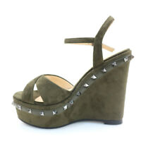 Women Peep Toe Wedge Heel High Platform Summer Sandals Studded Ankle Buckle Shoe