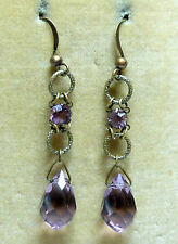 Vintage Art Deco purple crystal teardrop bead earrings - match 1930s necklaces