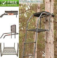 18' Deer Elk Game Hunting Ladder Tree Bow Stand Comfort Flip Up Chair Seat Gun