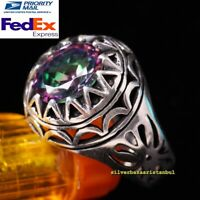 Turkish Handmade 925 Sterling Silver Round Tourmaline Stone Mens Ring All Sizes