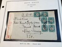 South Africa #46f Coil Pairs On Cover! RARE! Must See! Free Shipping!