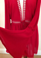 River Island EMBROIDERED KIMONO KAFTAN COVER UP Red BEACH DRESS WORLD SELL-OUT