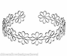 Daisy 925 Sterling Silver CZ set Flower Bangle Bracelet Ladies Jewellery Gift