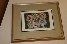 ORIGINAL FRAMED MINIATURE BALINESE UBUD ART INK PAINTING TOPENG BARONG MONKEY