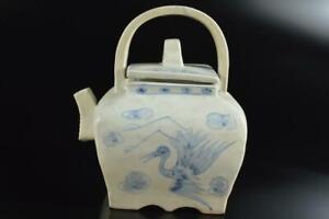 #5462: XF Korean Lý Dynasty Blue&White Bird Flower TEAPOT Kyusu Sencha