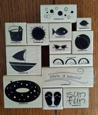 Stampin' Up LIFE'S A BREEZE Set of 13 Beach Summer Theme Rubber Stamps Lot