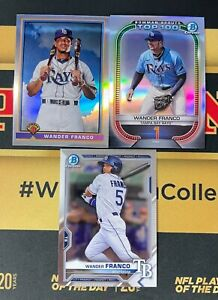 LOT OF (3) WANDER FRANCO 2021 BOWMAN CHROME 1991 REFRACTOR SCOUTS TOP 100 BCP57