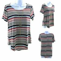 Rue Juju Top Womens Small Shirt Multi Color Striped Short Sleeve with Necklace