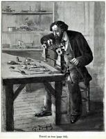Fabbricazione orologi: orologiaio al tornio. Stampa Antica + Passepartout. 1880