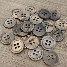 "20pc 24L 5/8"" 15mm Rim Grey Smoke Japan Real Pearl Shell Button Bouton Knopf DIY"