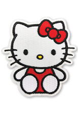 Hello Kitty sitting pose in red uniform with red bow sew on iron on patch new