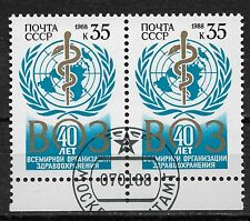 Russia/USSR 1988,World Health Organization,Scott # 5633 Pair,VF USED**OG