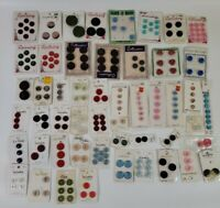 Lot of 200 Vintage Buttons on Cards 60s 70s