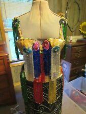 Professional belly dance costume bra belt Egyptian multi colored hand beaded