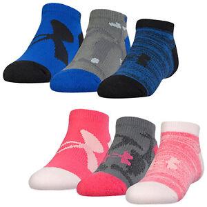 Under Armour Junior Kids Next Statement No Show Socks 3 Pairs UA Trainer Ankle