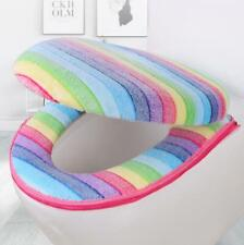 New Rainbow Color Toilet Seat Mat Lid Cover Soft Coral Velvet Closestool Pad