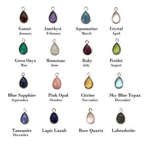 Sterling Silver Bezel Charm Pendant-Natural Gemstones-Tiny Teardrop Shape (1 pc)