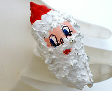 Vintage Santa Claus Brooch Enameled Sea Shell Christmas Holiday Jewelry Pin