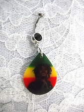 CLEARANCE YOUNG SMILING BOB MARLEY RASTA COLORS ON BLACK CZ BELLY BUTTON RING