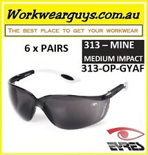 6 Pairs of Eyres Safety Glasses- MINE Grey Frame Weather Grey Lens 313-OP-GYAF