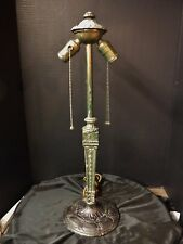 Antique Cast Iron Lamp Base for Slag Stained Glass Reverse Panted Art Deco