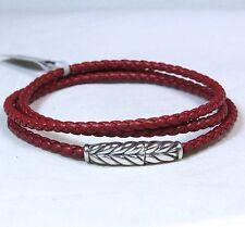 New David Yurman Men's Chevron Red Leather Triple Wrap Bracelet Silver Medium