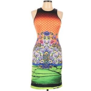 Clover Canyon Large Dress Bodycon Scuba Neoprene Sleeveless Orange Multicolor