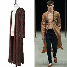 runway DRIES VAN NOTEN SS15 burgundy red tribal embroidered kimono robe jacket L