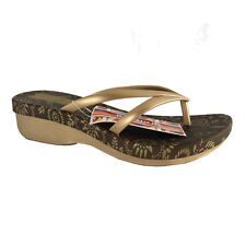 Grendha Flip-Flops Woman in Rubber Bronze/Gold Wedge cm 4, 5 Made in Brazil