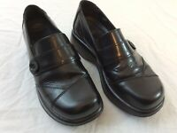 Dansko Classic Black 39 US Womens 8.5 Leather Mary Janes Button Buckle Shoes EUC