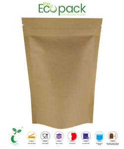 BIODEGRADABLE STAND UP POUCHES HEAT SEAL FOOD GRADE WITH ZIP LOCK ECO PACK