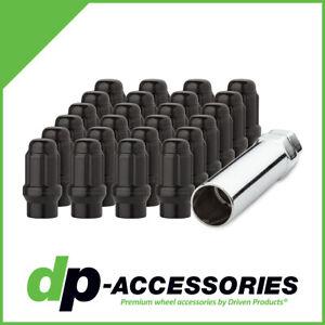 Black ET Spline Lug Nuts M12x1.5 Closed End for Aftermarket Wheels - 24 Pack