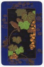 Playing Cards 1 Swap Card Old Vintage Linen Named LACQUER Birds Grape Vine Gilt
