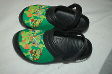 Boys Shoes Black Clogs Rubber Tmnt Ninja Turtles Moving Ankle Strap L 2-3