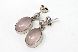 A Pretty Pair Of Vintage Sterling Silver 925 Rose Quartz Dropper Earrings #72