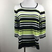 Alfred Dunner S Small Knit Top Square Neck Green Black Stripe Studded 3/4 Sleeve