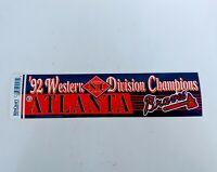 VTG 1994 Western Division Champions Atlanta Braves Bumper Sticker MLB Baseball