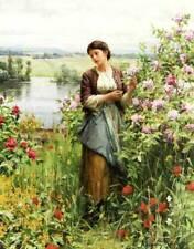 "Lady ""Julie among the Roses"" by Daniel Ridgeway Knight"